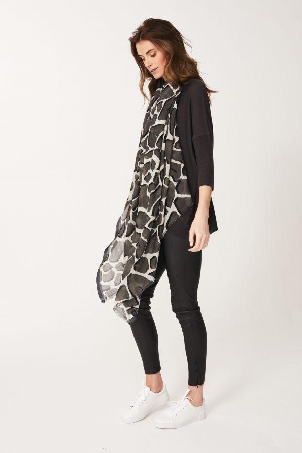 Giraffe Print Shawl in Black Olive