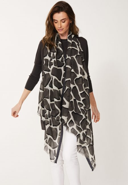 Giraffe Print Shawl in Black Olive