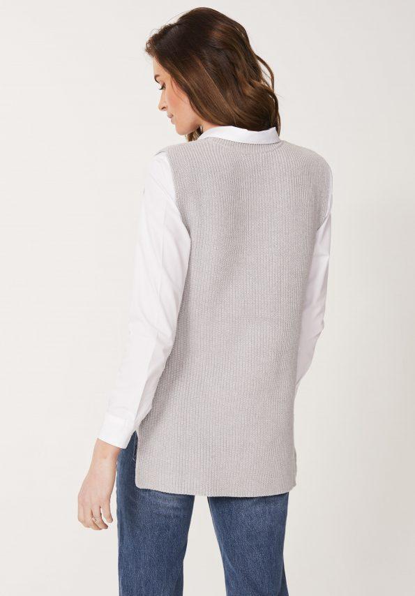 Cotton Rib Tank Top in Silver Marl