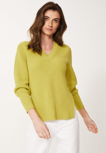 Cotton Rib V neck Jumper