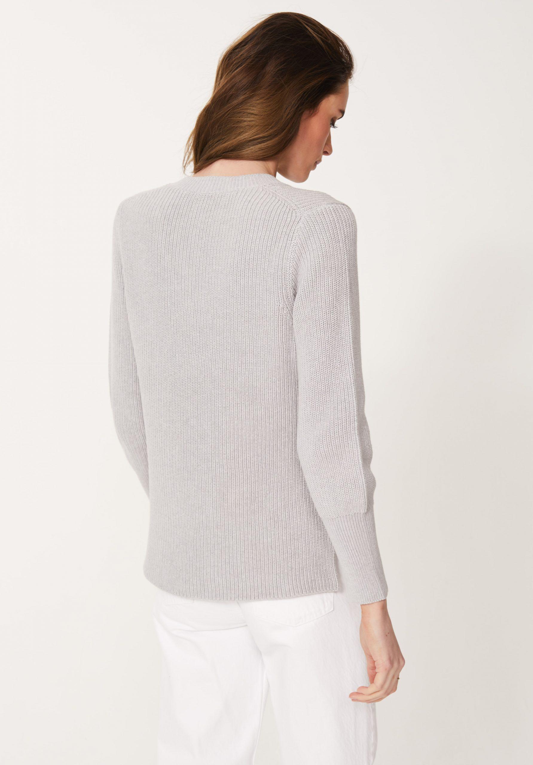 Cotton Rib V neck Jumper in Silver Marl