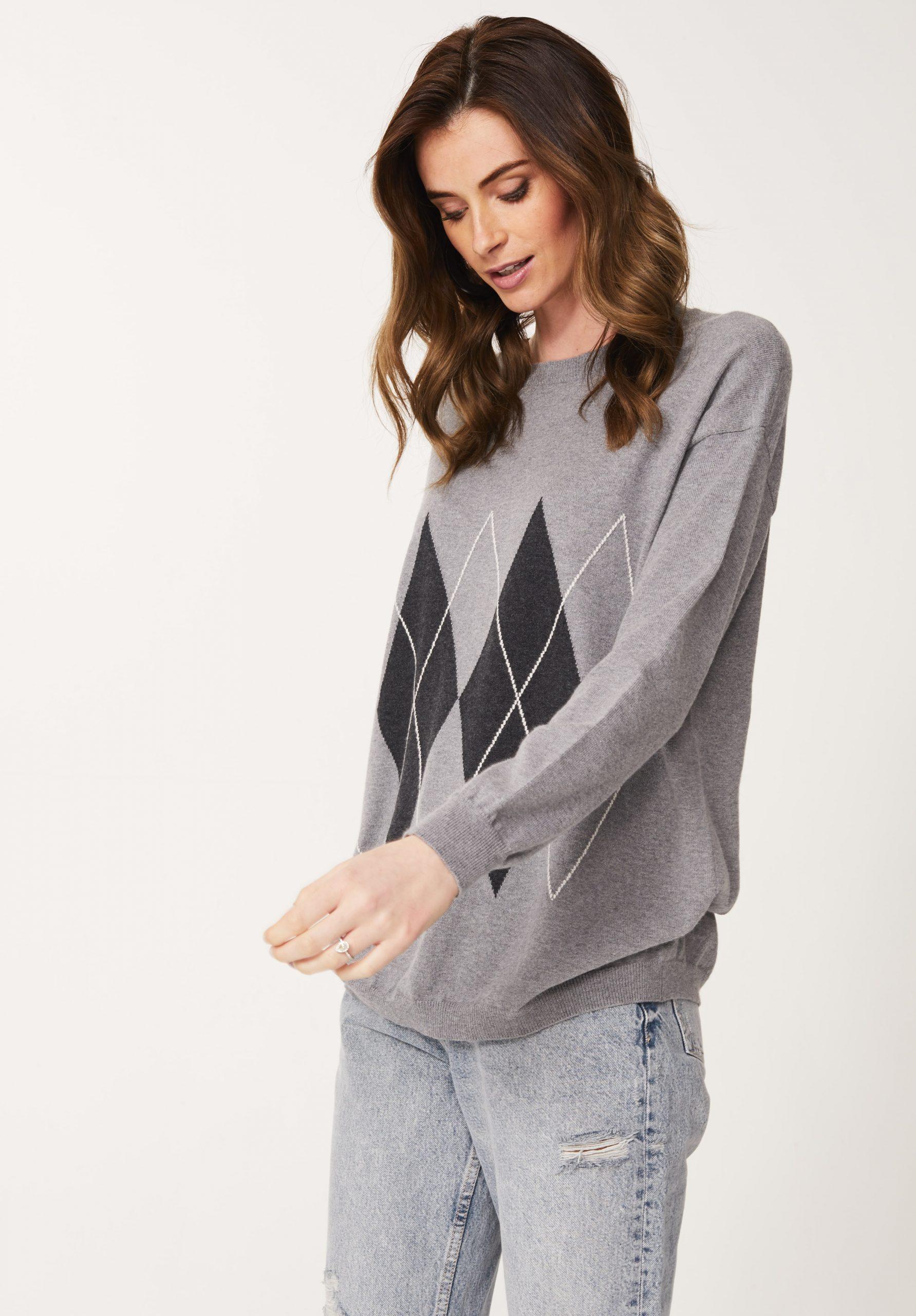 Boyfriend Argyle Jumper in Grey/Graphite